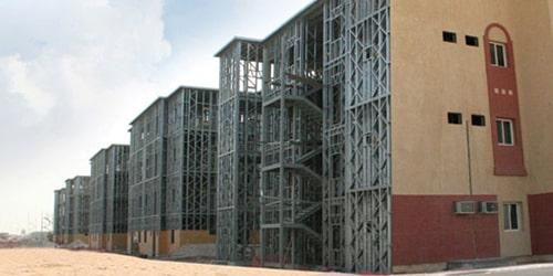 Structure métallique en acier léger pour un batiment collectif