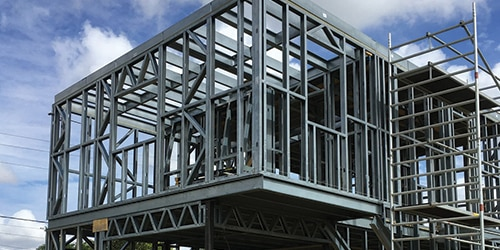 Construction detached house in metal frame